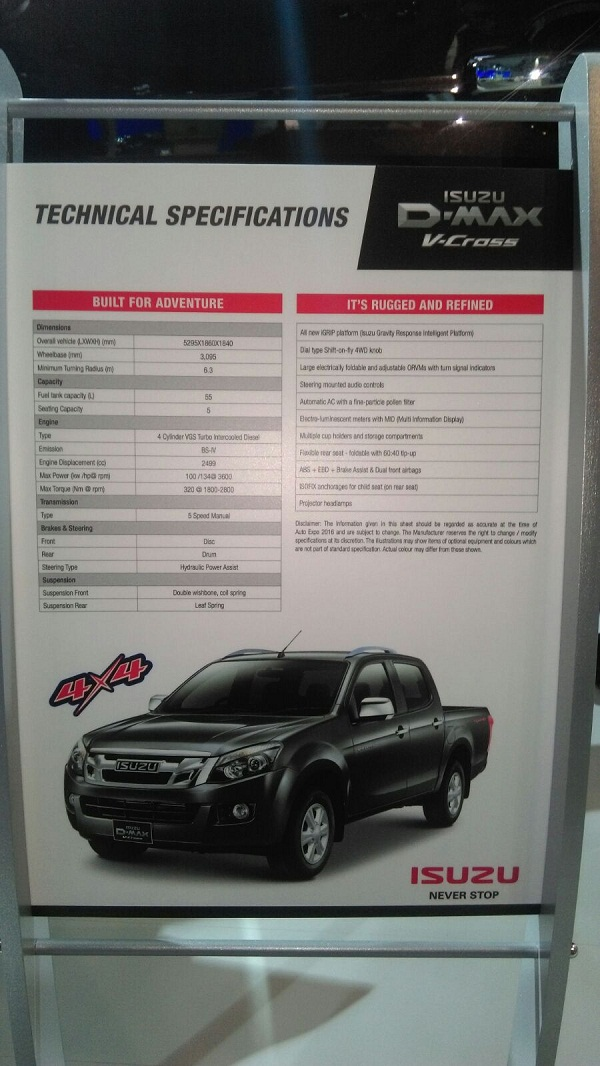 Isuzu D-Max V-Cross Adventure Utility Vehicle Features & Specifications