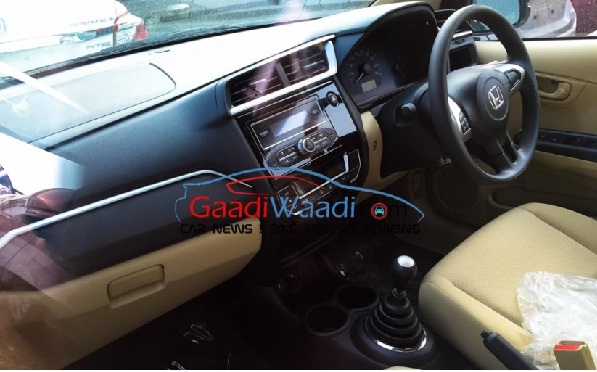 Interiors of Spied Honda Amaze