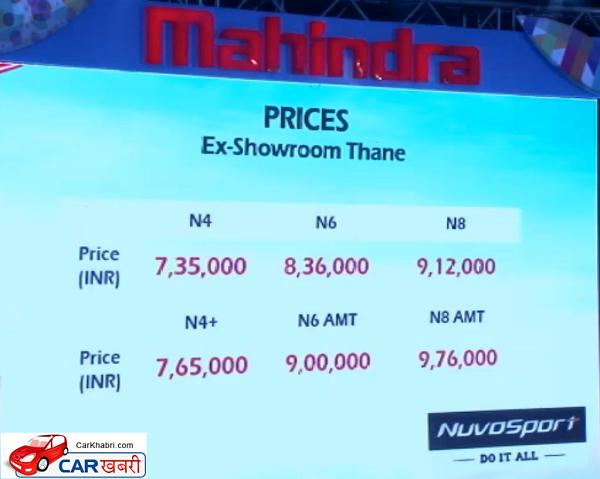 Mahindra NuvoSport Price