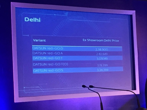 Datsun redi-Go Variant wise ex-showroom price, New Delhi