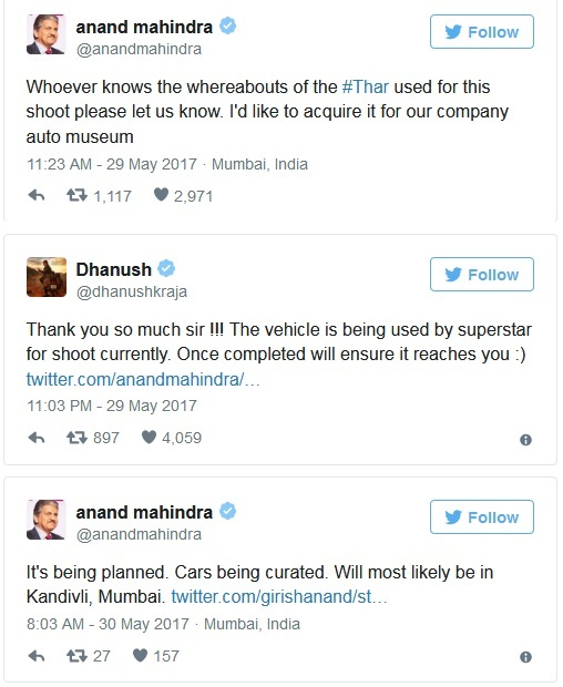 Tweets Between Anand Mahindra and Dhanush