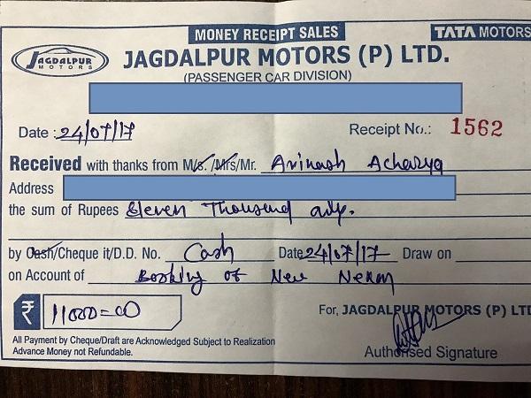 Tata Nexon Booking Receipt Viral on Internet