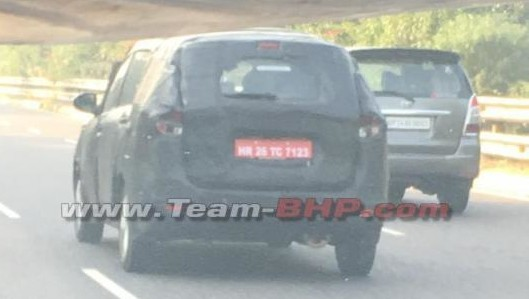 Maruti Suzuki Ertiga Camouflaged Rear Spied
