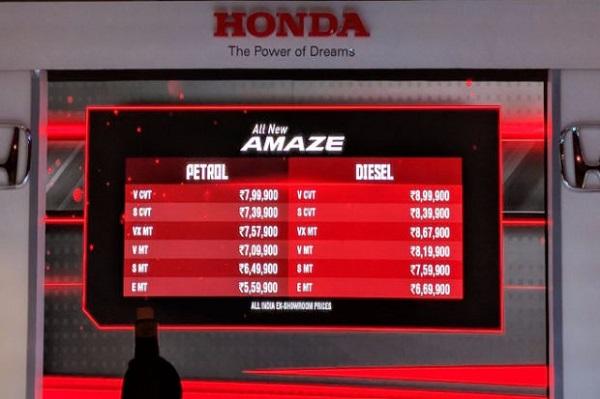 New Honda Amaze 2018 Prices