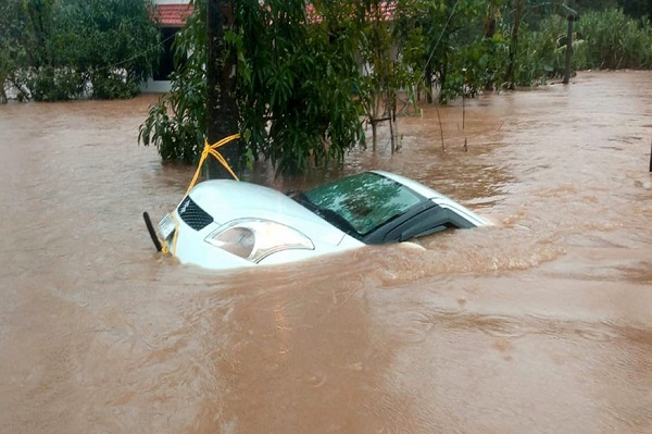 Car Submerged in the Water