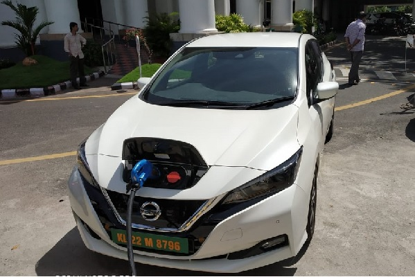 Nissan Leaf Being Charged In The Kerala Secretariat