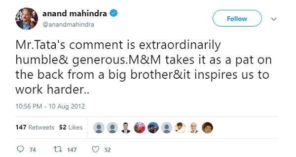 Anand Mahindra's Tweet