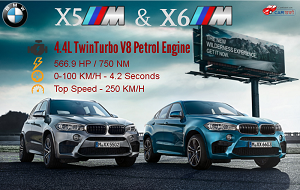 BMW launches X5 M and X6 M, Priced Rs. 1.55 Crore and 1.60 Crore Respectively